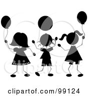 Royalty Free RF Clipart Illustration Of Silhouetted Stick Children Playing With Balloons by Pams Clipart