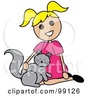 Royalty Free RF Clipart Illustration Of A Blond Stick Girl Petting A Cat by Pams Clipart