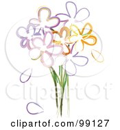 Royalty Free RF Clipart Illustration Of A Bouquet Of Painted Flowers