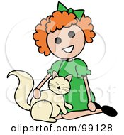 Red Haired Stick Girl Petting A Cat