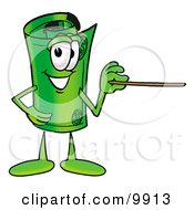 Clipart Picture Of A Rolled Money Mascot Cartoon Character Holding A Pointer Stick