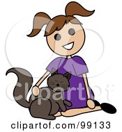 Brunette Stick Girl Petting A Cat