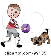 Royalty Free RF Clipart Illustration Of A Brunette Stick Boy Playing Ball With A Dog