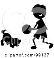 Royalty Free RF Clipart Illustration Of A Silhouetted Stick Boy Playing Ball With A Dog