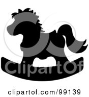 Silhouetted Black Childrens Nursery Rocking Horse
