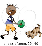 Royalty Free RF Clipart Illustration Of A Black Stick Boy Playing Ball With A Dog