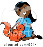 Indian Stick Girl Petting A Cat