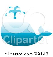 Royalty Free RF Clipart Illustration Of A Gradient Blue Whale Spouting Water