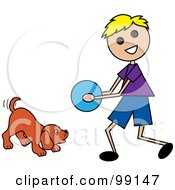 Royalty Free RF Clipart Illustration Of A Blond Stick Boy Playing Ball With A Dog