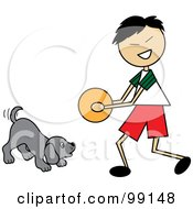 Royalty Free RF Clipart Illustration Of An Asian Stick Boy Playing Ball With A Dog