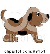 Royalty Free RF Clipart Illustration Of A Brown Puppy Dog With Black Spots In Profile by Pams Clipart