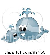 Royalty Free RF Clipart Illustration Of A Round Blue Whale And Its Mother Spouting Water by Pams Clipart