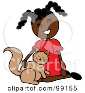 Royalty Free RF Clipart Illustration Of A Black Stick Girl Petting A Cat