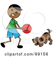 Royalty Free RF Clipart Illustration Of An Indian Stick Boy Playing Ball With A Dog