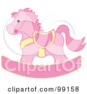 Royalty Free RF Clipart Illustration Of A Pink And Yellow Childrens Nursery Rocking Horse by Pams Clipart