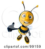 Royalty Free RF Clipart Illustration Of A 3d Bee Character Holding A Thumb Up And Smiling