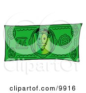 Clipart Picture Of A Rolled Money Mascot Cartoon Character On A Dollar Bill