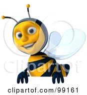 Royalty Free RF Clipart Illustration Of A 3d Bee Character Smiling And Carrying A Blank Sign by Julos