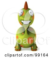 Royalty Free RF Clipart Illustration Of A 3d Spotted Dino Character Facing Front by Julos