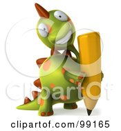 Royalty Free RF Clipart Illustration Of A 3d Spotted Dino Character Smiling And Holding A Pencil