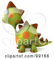Royalty Free RF Clipart Illustration Of A 3d Spotted Dino Character Facing Left