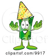 Clipart Picture Of A Rolled Money Mascot Cartoon Character Wearing A Birthday Party Hat