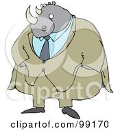 Royalty Free RF Clipart Illustration Of A Rhino Businessman In A Beige Suit