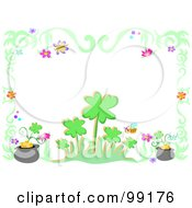 Royalty Free RF Clipart Illustration Of A Border Of Green Swirls Clovers Bugs And Pots Of Gold by bpearth