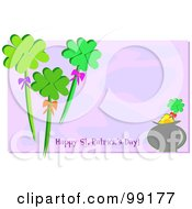 Royalty Free RF Clipart Illustration Of A Happy St Patricks Day Greeting With Shamrocks And Gold Over Purple by bpearth