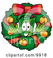 Clipart Picture Of A Rolled Money Mascot Cartoon Character In The Center Of A Christmas Wreath