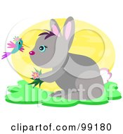 Royalty Free RF Clipart Illustration Of A Hummingbird Talking To A Rabbit by bpearth