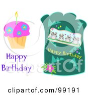 Digital Collage Of Happy Birthday Greetings With A Cupcake And Mice