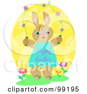 Bunny Wearing A Happy Easter Dress And Jumping A Flower Rope