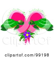 Royalty Free RF Clipart Illustration Of A Turtle Pair Gazing Over A Pink Heart