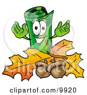 Clipart Picture Of A Rolled Money Mascot Cartoon Character With Autumn Leaves And Acorns In The Fall