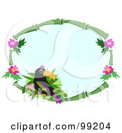 Royalty Free RF Clipart Illustration Of A Bamboo Frame With Hibiscus Flowers And A Toucan by bpearth