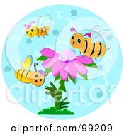Royalty Free RF Clipart Illustration Of Three Bees Around A Purple Flower