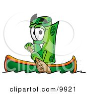 Clipart Picture Of A Rolled Money Mascot Cartoon Character Rowing A Boat