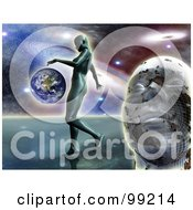 Royalty Free RF Clipart Illustration Of A 3d Mans Face With A Woman Walking Near Earth Against The Galaxy