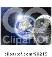 Royalty Free RF Clipart Illustration Of A 3d Futuristic Face Against The Sun Rising Over Earth