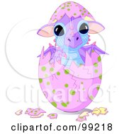 Royalty Free RF Clipart Illustration Of A Cute Baby Dragon Hatching From A Pink Egg by Pushkin