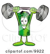 Clipart Picture Of A Rolled Money Mascot Cartoon Character Holding A Heavy Barbell Above His Head