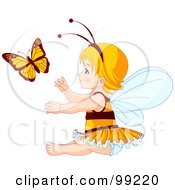 Blond Baby Fairy Girl Reaching For A Butterfly