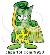 Clipart Picture Of A Rolled Money Mascot Cartoon Character In Green And Yellow Snorkel Gear