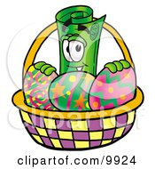 Clipart Picture Of A Rolled Money Mascot Cartoon Character In An Easter Basket Full Of Decorated Easter Eggs