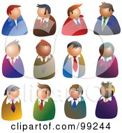 Royalty Free RF Clipart Illustration Of A Digital Collage Of 12 Businessmen Avatars by Prawny