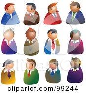 Digital Collage Of 12 Businessmen Avatars