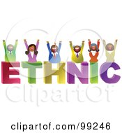 Royalty Free RF Clipart Illustration Of A Business Team Celebrating On ETHNIC