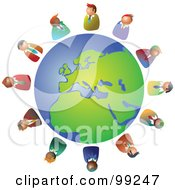 Royalty Free RF Clipart Illustration Of A Business Team Circling The Globe by Prawny