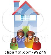 Royalty Free RF Clipart Illustration Of A Happy Black Family In Front Of Their Home